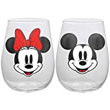 Disney Mickey and Minnie Mouse Stemless Wine Glasses, Set of...