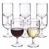 Stackable 8-ounce Plastic Wine Stems   Set of 8 Clear