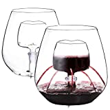 Vencer Set of 2 Stemless Aerating Wine Glass with Removable...
