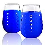Artland 15 oz Hydra Sip Glasses with Blue Silicone Sleeves...