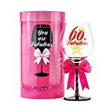60 and Fabulous Birthday Wine Glass for Women   Fun Gift for...