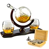 Whiskey Decanter Set Globe with 2 Etched Globe Whisky...