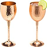 Copper wine glasses set of 2 – 11oz gleaming 100% solid...