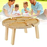 Wooden Outdoor Folding Picnic Table with Glass Holder,...