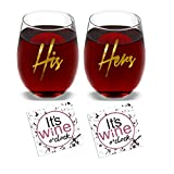 His & Hers (Gold Print) - Set of 2 Wine Glasses Combo with...