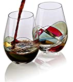 Bezrat Stemless Wine Glasses Set of Two | Hand Painted Large...