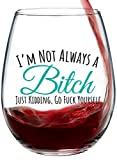 I'm Not Always Funny, Cute Wine Glass, Stemless 15oz, Gift...