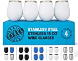 Stainless Steel Wine Glasses: Large 18 Oz Set of 4 Stemless...