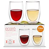 Eparé Wine Glasses - 13oz Set of 2 - Double-Walled...