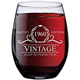 1960 60th Birthday Gifts for Women Men - 15 oz Stemless Wine...