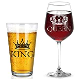 King Beer Glass and Queen Wine Glass, Beer Pint Glass and...