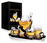 Whiskey Decanter Set World Etched Globe Decanter Antique...