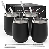 Stainless Steel Stemless Wine Tumbler 4 Pack 12 oz - Double...