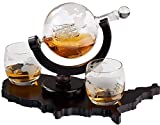 Whiskey Decanter Set World Etched Globe Decanter Airtight...