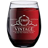 1969 51st Birthday Gifts for Women Men - 15 oz Stemless Wine...