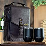 Tilvini Insulated Genuine Leather Wine Bag With 2 Stainless...