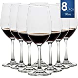 16 Ounce Set of 8,Hand Blown Crystal Wine Glasses Red/White...