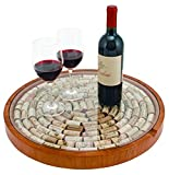 True Lazy Susan Cork Display Home and Farmhouse, Wine Bottle...