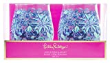 Lilly Pulitzer Blue Acrylic Stemless Wine Glass Set of 2, 16...