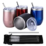 Comfook 4 Pack 12OZ Stainless Steel Wine Glass Tumbler Set...