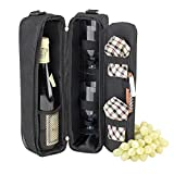 Picnic at Ascot Insulated Wine Tote with 2 Wine Glasses,...