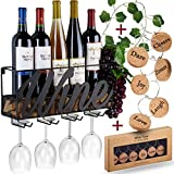 Wall Mounted Wine Rack - Bottle & Glass Holder - Cork...