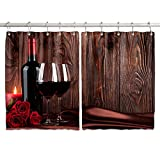 Wine Theme Decor Kitchen Curtains, Red Wine Glass and Rose...