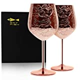 SKY FISH Etched Stainless Steel Wine Glasses With Copper...