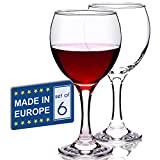 Stemmed Red Wine Glasses Set of 6, All Purpose 12 ¼ Oz Lead...