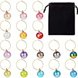 Wine Beaded Charms Set Swirl Glass Markers Tags, Includes 16...