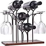 DCIGNA Freestanding Metal Wine Rack with Glass Holder, Wood...