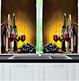 Ambesonne Wine Kitchen Curtains, Grapes Wine Bottles and...