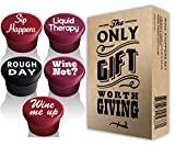 5 Wine Stoppers + Gift Box - Perfect Wine Gift Accessory,...