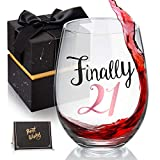 21st Birthday Gifts for Women Stemless Wine Glass, Finally...