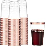 100 Rose Gold Plastic Cups 14 Oz Clear Plastic Cups Tumblers...