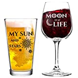 Moon of My Life My Sun and Stars Wine and Beer Glass Set for...