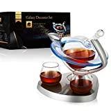Galaxy Whiskey Decanter Set with 2 Glasses,Galaxy Globe...