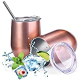 Insulated Wine Tumbler with Lid Rose Gold 2 pack, Double...