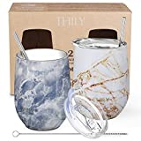 Stainless Steel Insulated Wine Tumblers - THILY 12 oz Cute...