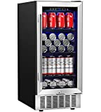 Beverage Refrigerator 15 Inch by Aobosi, 94 Cans Built-in...
