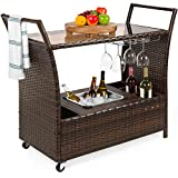 Best Choice Products Outdoor Rolling Wicker Bar Cart...