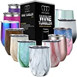 Stainless Steel Wine Glass Tumbler with Lid, 12 oz Double...