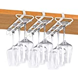 Wine Glass Holder, White Stemware Rack No Drilling Metal...