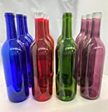12 Mixed Assorted Empty Glass Wine Bottles 3 Red 3 Blue 3...