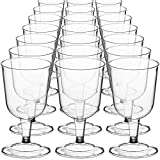 DecorRack 24 Wine Glasses, 6 Oz Plastic Party Wine Cups,...