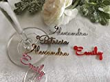 Personalized Wine Glass Charms Small Laser Cut Names Place...