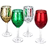 MyGift Etched Glass Colored Christmas Wine Glasses, Set of 4
