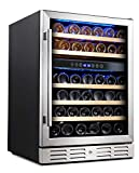 Kalamera 24'' Wine Cooler Refrigerator 46 Bottle Dual Zone...