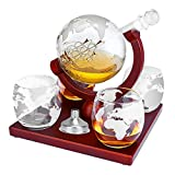TeqHome Whiskey Decanter Set, Globe Wine Decanter with 4...