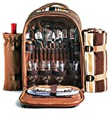 Picnic Backpack Bag for 4 Person With Cooler Compartment,...